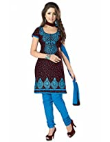 SGC Brown Cotton Embroidery unstitched churidar kameez (R-9192)