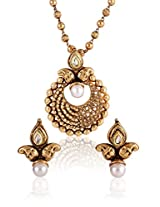 Shining Diva Antique Gold Plated Copper Look Kundan Pendant Earrings Set
