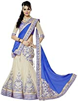 Clickedia Women Net Blue embroidered Saree style Lehenga With Dupatta and Blouse piece