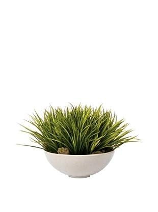 Lux-Art Silks Sword Grass In Oatmeal Bowl, Green