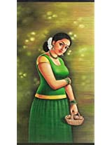 DollsofIndia A Malayalee Girl in a Traditional Dress Holding Flower Basket - (Wall Hanging) - Painting on Woven Bamboo Strands