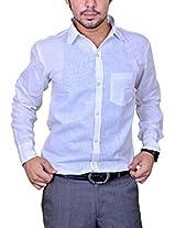 Mc-John Mens Linen Formal Shirt -White -Large
