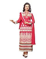 atisundar excellent Pink Embroidered Traditional Semi Stitched Straight Cut In Pure Cotton- 5733_30_37008