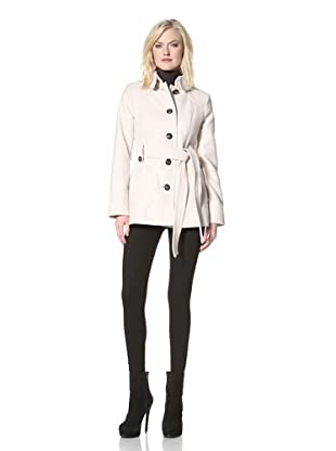 Kensie Women's Single-Breasted Jacket with Belt (Vanilla)