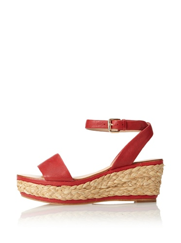 Dolce Vita Women's Helen Wedge Sandal (Red Leather)