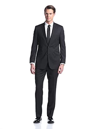 Ben Sherman Men's Pinstripe Suit (Black)