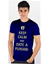 Enquotism Royal Blue Combed Fabric Round Neck Men T-Shirt -S Keep calm and Date a Punjabi Royal Blue-S