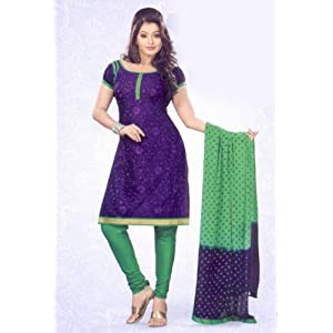 SGC- Blue embroidery Cotton unstitched Churidar kameez with Dupatta -SH-1046