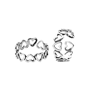 Voylla Cute Heart Oxidized Silver Alloy Toe Ring Pair
