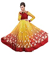 Inddus Women Yellow & Red Shaded Net Indo Western