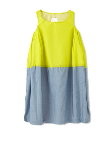 kicokids Girl's 2-Texture Parachute Tulip Dress (Citrus/Surf)