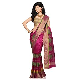 Utsav Fashion Pink Pure Handloom Chanderi Silk Saree