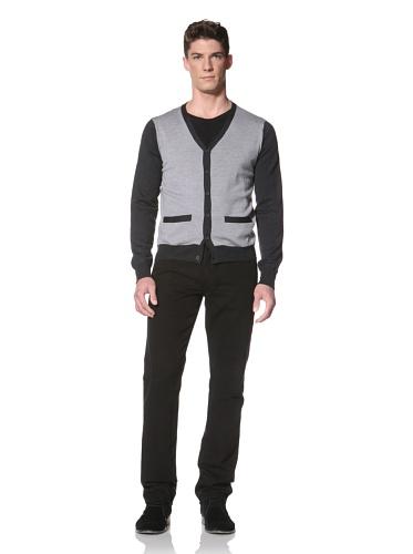 Cullen Men's Color Block Cardigan Sweater (Fog/Charcoal)