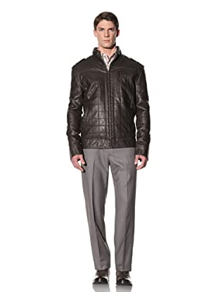 Perry Ellis Men's Quilted Faux Leather Jacket (Dark Chocolate)