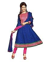 Cotton Printed Blue Anarkali Suit - ZB05