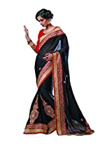 sareez Black Color Georgette With Jacquard Saree.