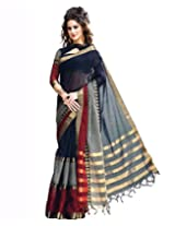 Paaneri Black Colour with Grey Blended Cotton Saree_15110009605