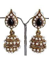 Black leaf pearl jhumki earrings