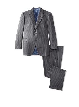 Oxxford Men's Pinstripe Herringbone Suit (Grey/Blue)