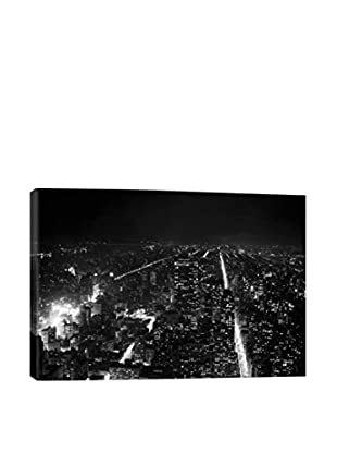 Retro Images New York City Aerial View At Night Archive Gallery-Wrapped Canvas Print