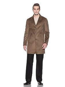 John Varvatos Collection Men's Notch Lapel Button Front Coat (Cappuccino)