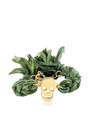 Ettika Green Vintage Ribbon Bracelet with 18K Gold-Plated Skull Charm