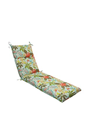 Pillow Perfect Outdoor Fancy a Floral Caribbean Chaise Lounge Cushion, Blue/Brown