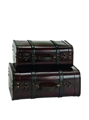 Set of 2 Wood & Leather Antique-Style Trunks