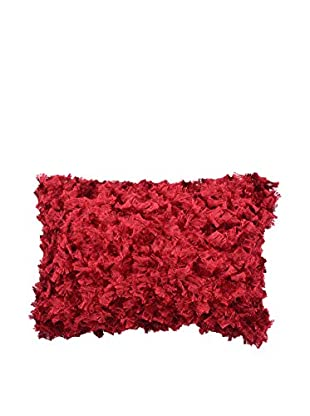 Cloud 9 Bow-Shaped Shag Lumbar Pillow, Red