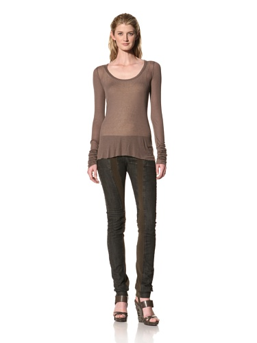RICK OWENS Women's Long Sleeve Scoopneck Top (Dust)