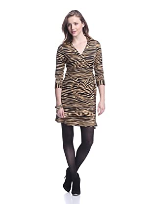 JB by Julie Brown Women's Mello Wrap Dress with Collar (Black Desert Rose)