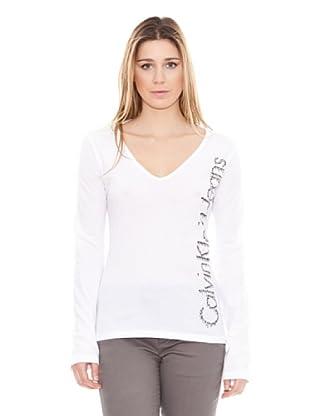 Calvin Klein Jeans Camiseta Básica print lateral M/L (Blanco)