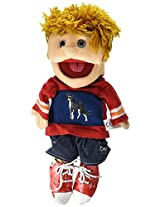 "Sunny Toys 14"" Yellow Haired Boy In Red/Blue Glove Puppet"