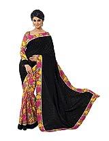 Black Multi Color Art Bhagalpur Silk Saree with Blouse 11332