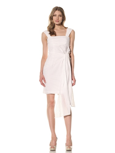 Andrew Marc Collection Women's Ruched Dress with Side Tie (White)
