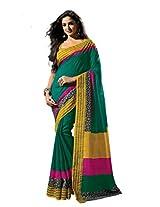 De Marca Green Raw Silk A2418 Saree