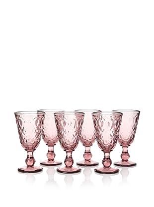 La Rochère Set of 6 Lyonnais Décor Amethyst 8-oz. Footed Wine Glasses