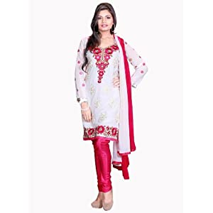 Red White Parsi Work Faux Georgette:d6998/s3