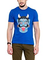 Yepme Men's Blue Graphic T-Shirt -YPMTEES0243_M