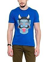 Yepme Men's Blue Graphic Cotton T-shirt -YPMTEES0243_M