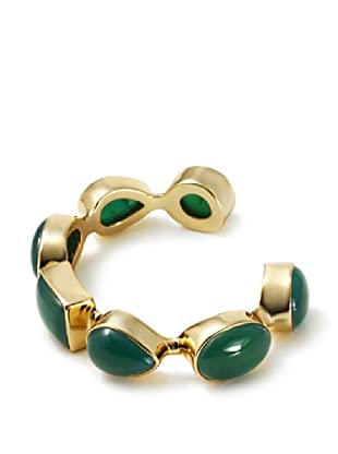 Isharya 18K Gold Plated Green Agate Gem Rocks Cuff