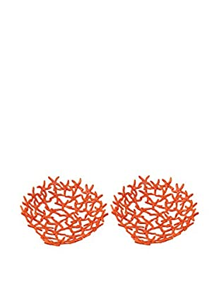Artistic Set of 2 Hand-Forged Starfish Bowls, Orange