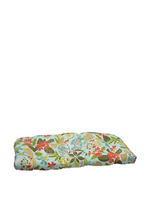 Pillow Perfect Outdoor Fancy a Floral Caribbean Wicker Loveseat Cushion, Blue/Brown