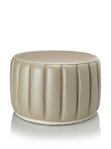 Shine by S.H.O Welted Ottoman, Ecru/White