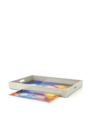 Mudlark Wood and Glass Tray Set, Coralina