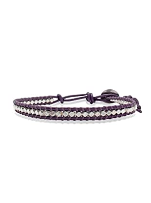Lucie & Jade Echtleder-Armband Metallbeads violett/silber