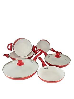 Vip4vip Batería De Cocina Cerámica Roja De 8 Piezas