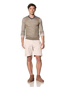 Pringle of Scotland Men's V-Neck Long Sleeve Sweater (Fatigue Dark Green/Sea Blue/Dark Blue)