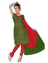Kala Sanskruti Women's Cotton Silk Blend Green Dress Material