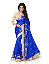 Shree Sanskruti Embriodered Georgette Blue Color Saree For Women With Blouse Piece